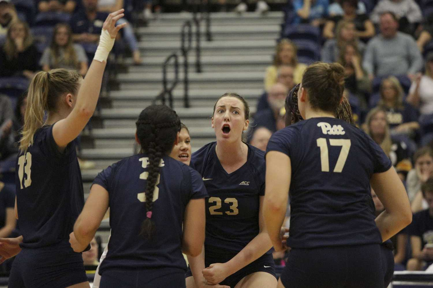 Pitt women's volleyball team is tied with NC State for No. 1 in the conference after their first ACC loss to NC State Sunday. (Photo by Thomas Yang | Senior Staff Photographer)