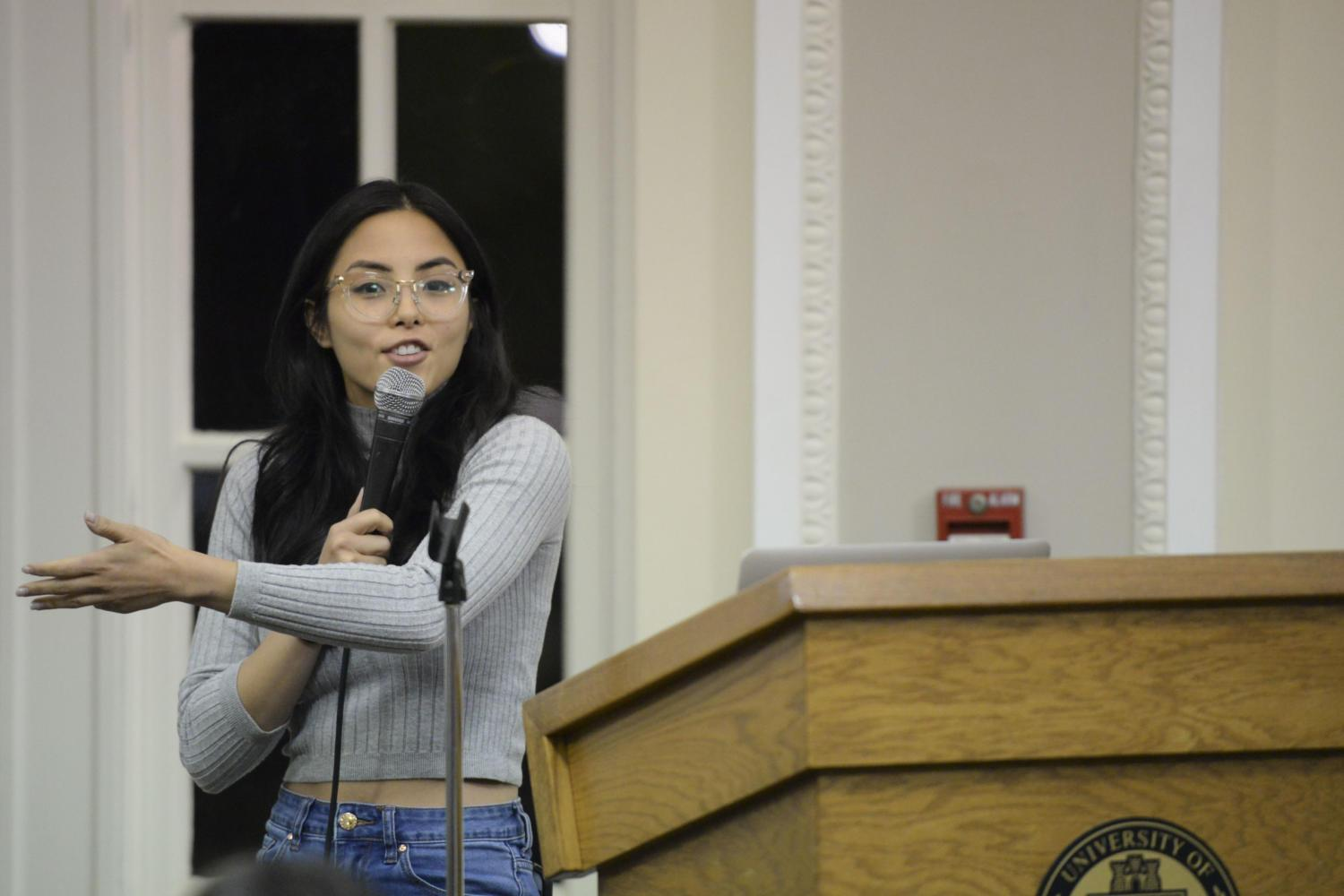 Anna Akana spoke to more than 200 students in the William Pitt Union about Asian American representation in entertainment Friday night. (Photo by Issi Glatts | Staff Photographer)