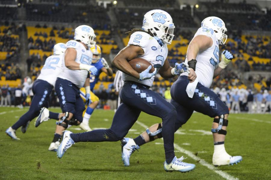 In a back-and-forth game, North Carolina defeated Pitt for the third year in a row at Heinz Field Thursday night, 34-31. (Photo by John Hamilton | Managing Editor)