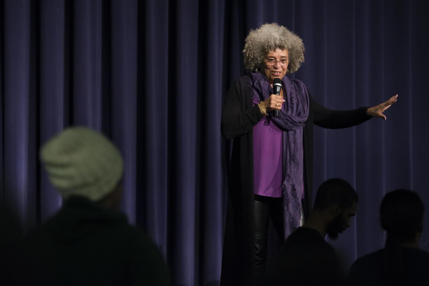 Activist and author Angela Davis answers students' questions after speaking to several hundred people in Alumni Hall Thursday night. (Photo by John Hamilton | Managing Editor)