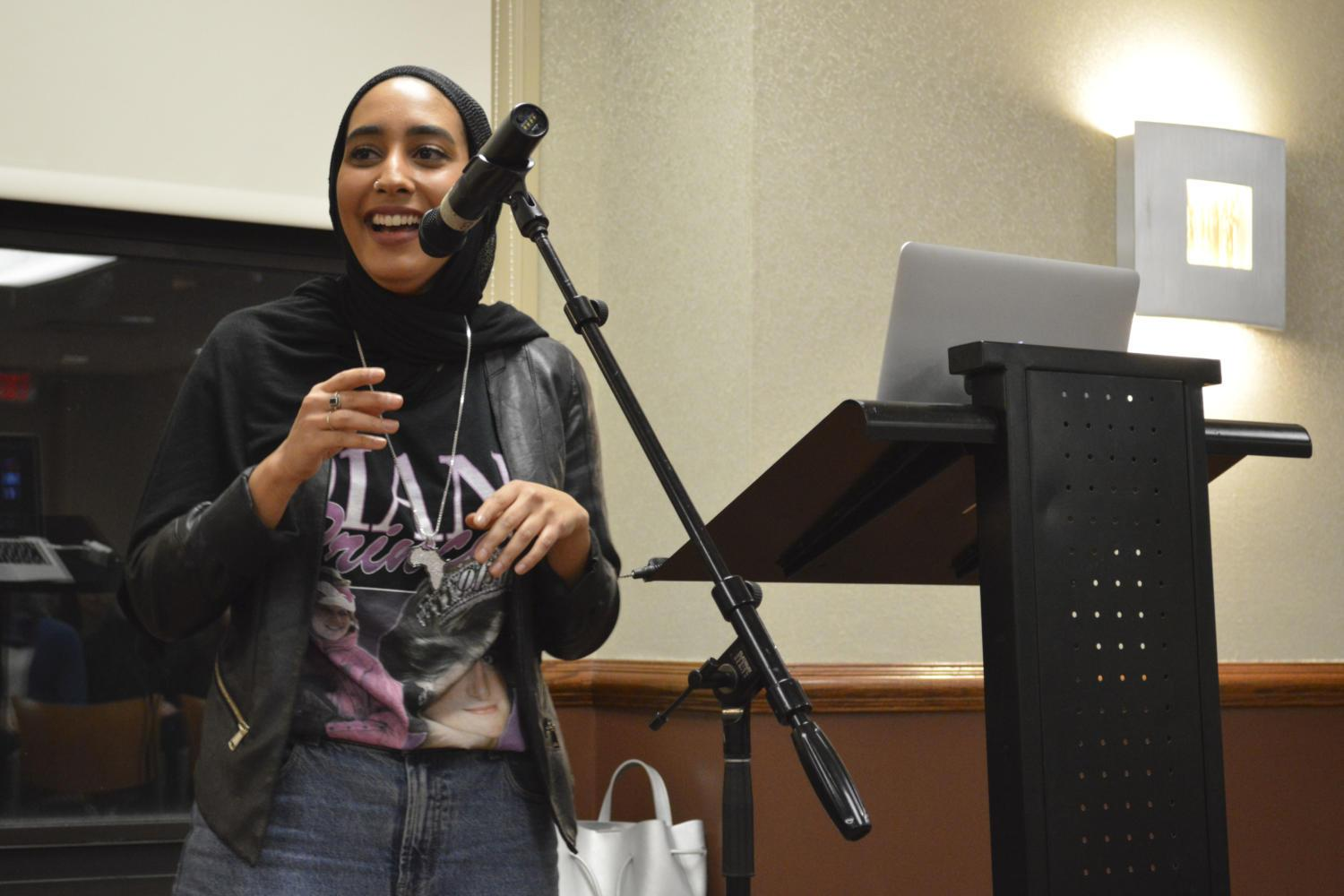 Mariah Idrissi spoke to more than 60 people in the William Pitt Union Saturday about her experience as the first hijab-wearing Muslim model in the world. (Photo by Issi Glatts | Staff Photographer)