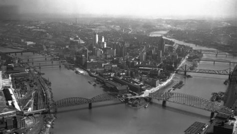 Historic Pittsburgh is digitizing and uploading archived photos of Pittsburgh — including this aerial shot of the Point — to historicpittsburgh.org. (Photo via Pitt's University Library System)
