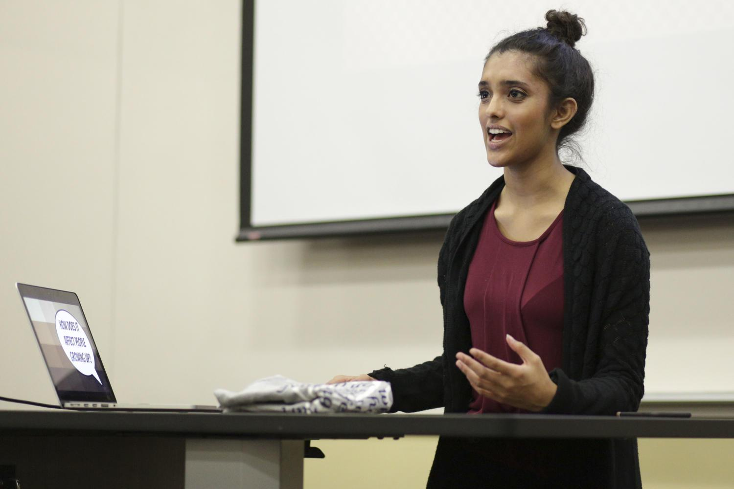 Junior finance major Jocelyn George led a discussion about colorism held by Pitt South Asian Student Association Friday night. (Photo by Thomas Yang | Senior Staff Photographer)