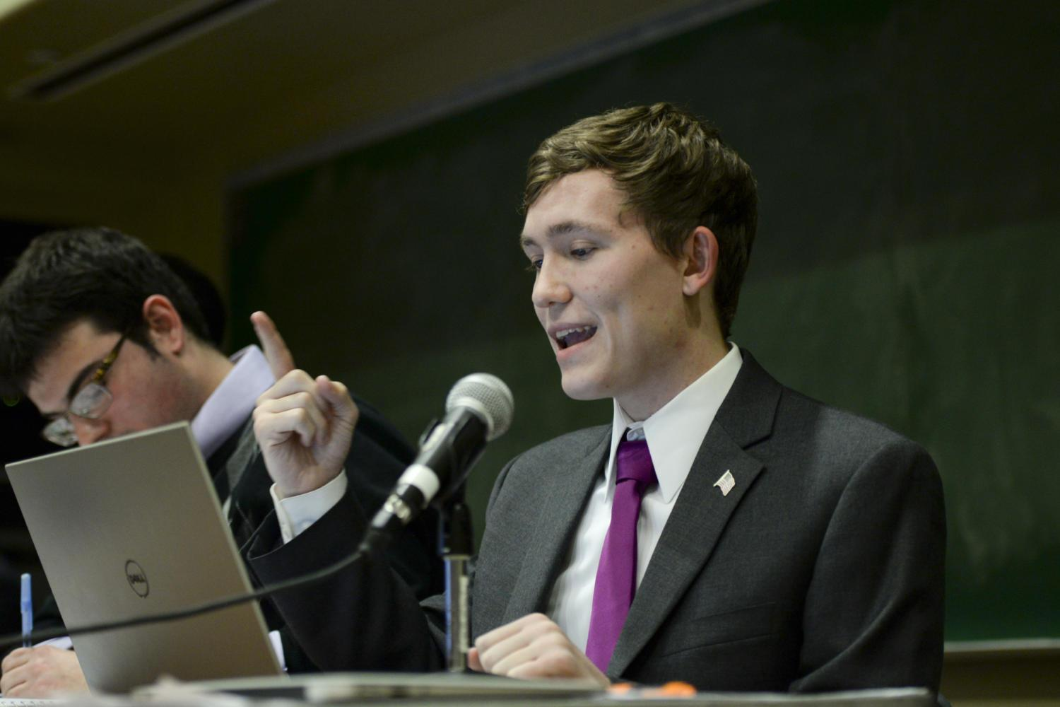 Peter Brath, an economics and political science major, debates for the Pitt College Republicans. (Photo by Sarah Cutshall | Staff Photographer)