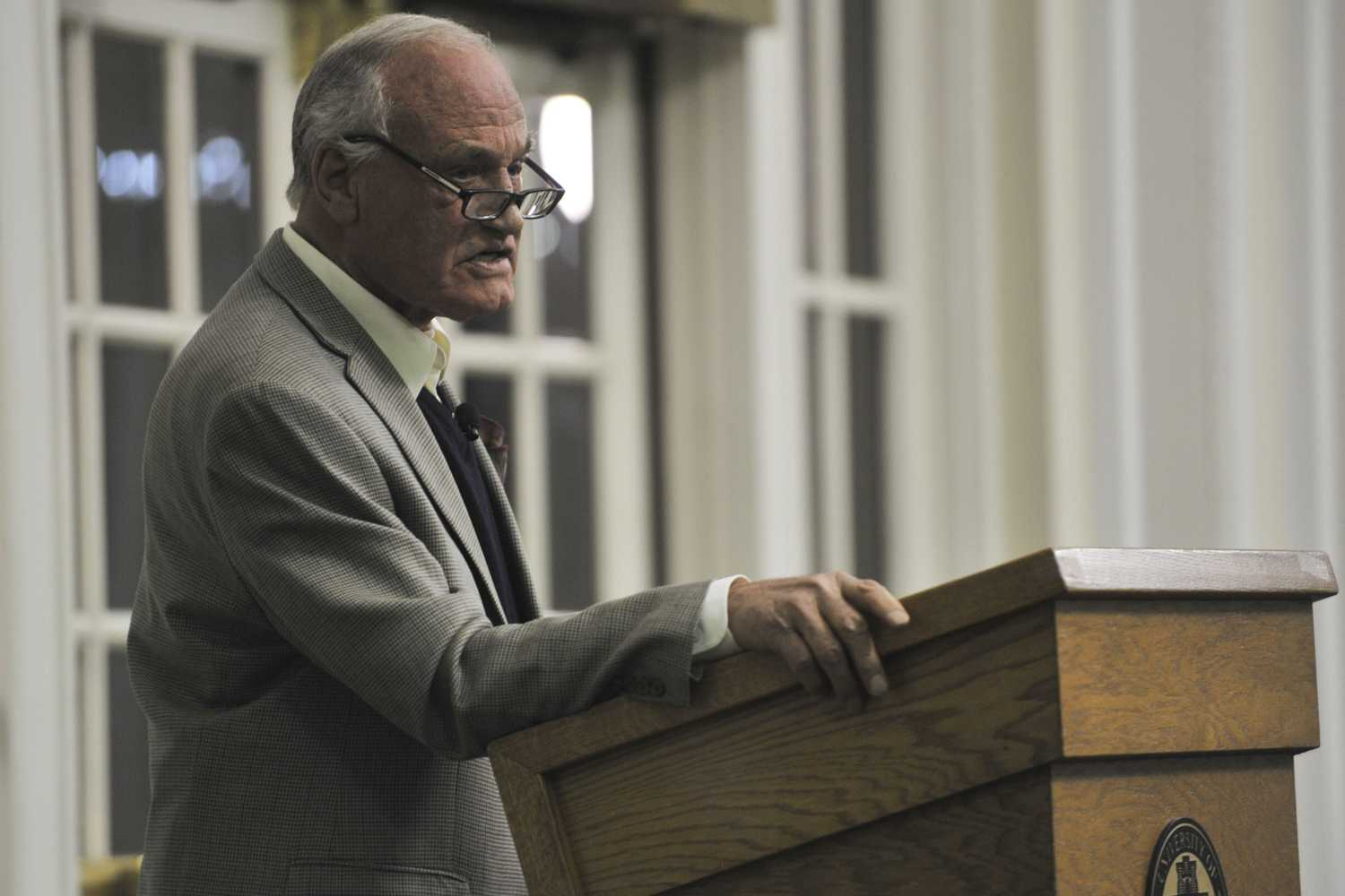 Barry Goldwater Jr., son of former Arizona senator Barry Goldwater, talked about his childhood in the limelight and opinions on current politics Thursday evening.  (Photo by Sarah Cutshall | Staff Photographer)