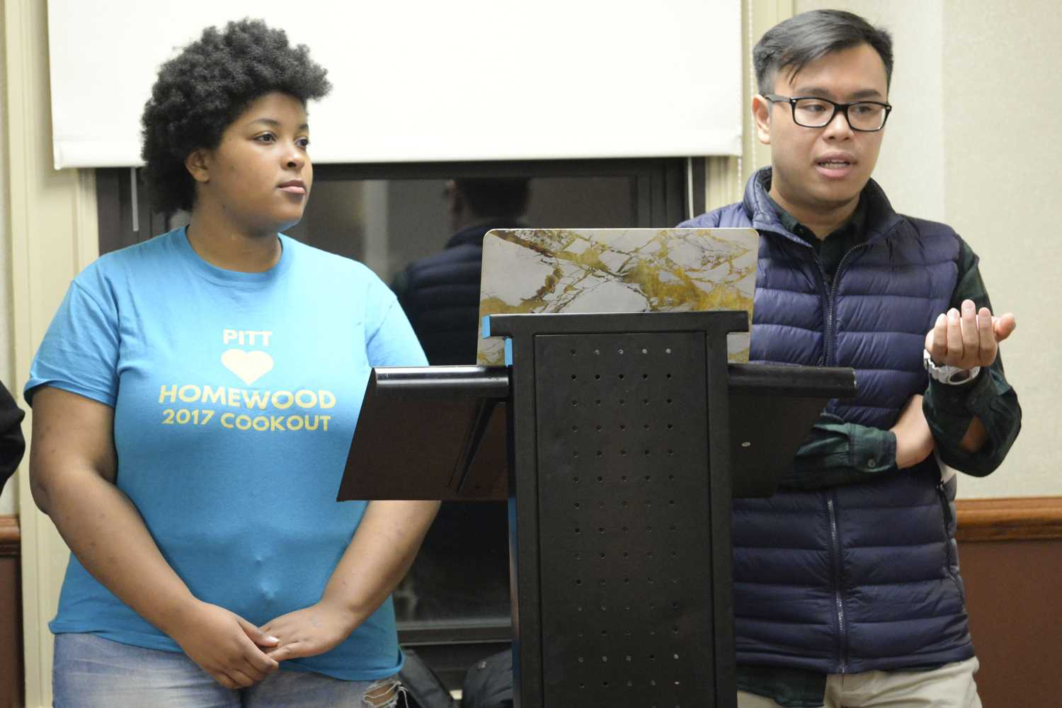 Jasmine Green and Albert Tanjaya discussed the difficulties both African-American and Asian-American communities face during an event Wednesday night. (Photo by Issi Glatts | Staff Photographer)