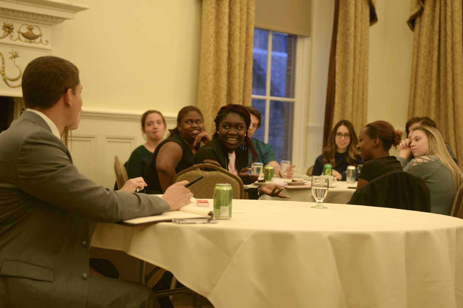 Students convened in the University Club Gold Room Wednesday night for three campus Master Plan focus groups. (Photo by Elise Lavallee | Contributing Editor)