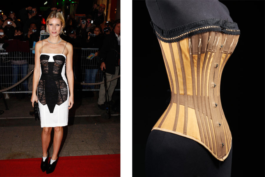 (Right: Cotton and whalebone corset, c. 1890, © Victoria and Albert Museum, London) (Left: Trompe l'oeil corset dress, designed by Antonio Berardi, S/S 2009, worn by Gwyneth Paltrow © Sipa Press/ REX Shutterstock)