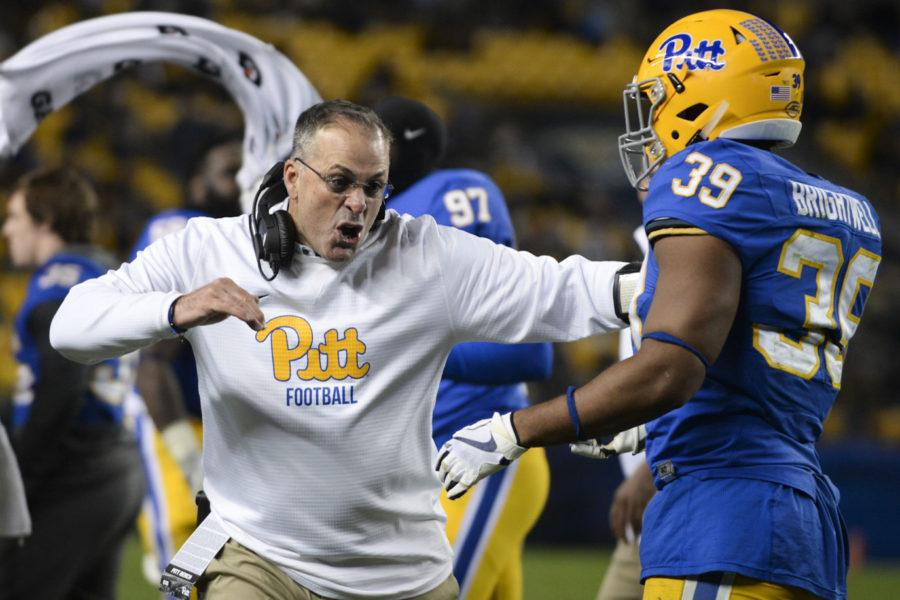 Head+football+coach+Pat+Narduzzi+continues+to+avoid+naming+either+Ben+DiNucci+or+Kenny+Pickett+as+the+team%E2%80%99s+starting+quarterback.+%28Photo+by+John+Hamilton+%7C+Managing+Editor%29
