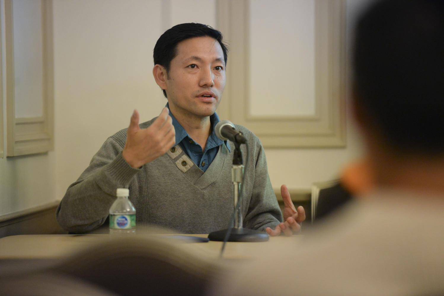 Ashok Gurung, co-founder of the Bhutanese Community Association of Pittsburgh, was one of three panelists in an event Pitt FORGE hosted about refugee mental health. (Photo by Issi Glatts | Staff Photographer)