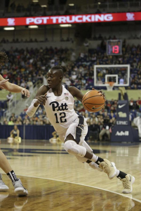Redshirt junior forward Yacine Diop scored 22 points in Pitt's 66-53 loss to Duquesne on Thursday. (Photo by Thomas Yang | Senior Staff Photographer)