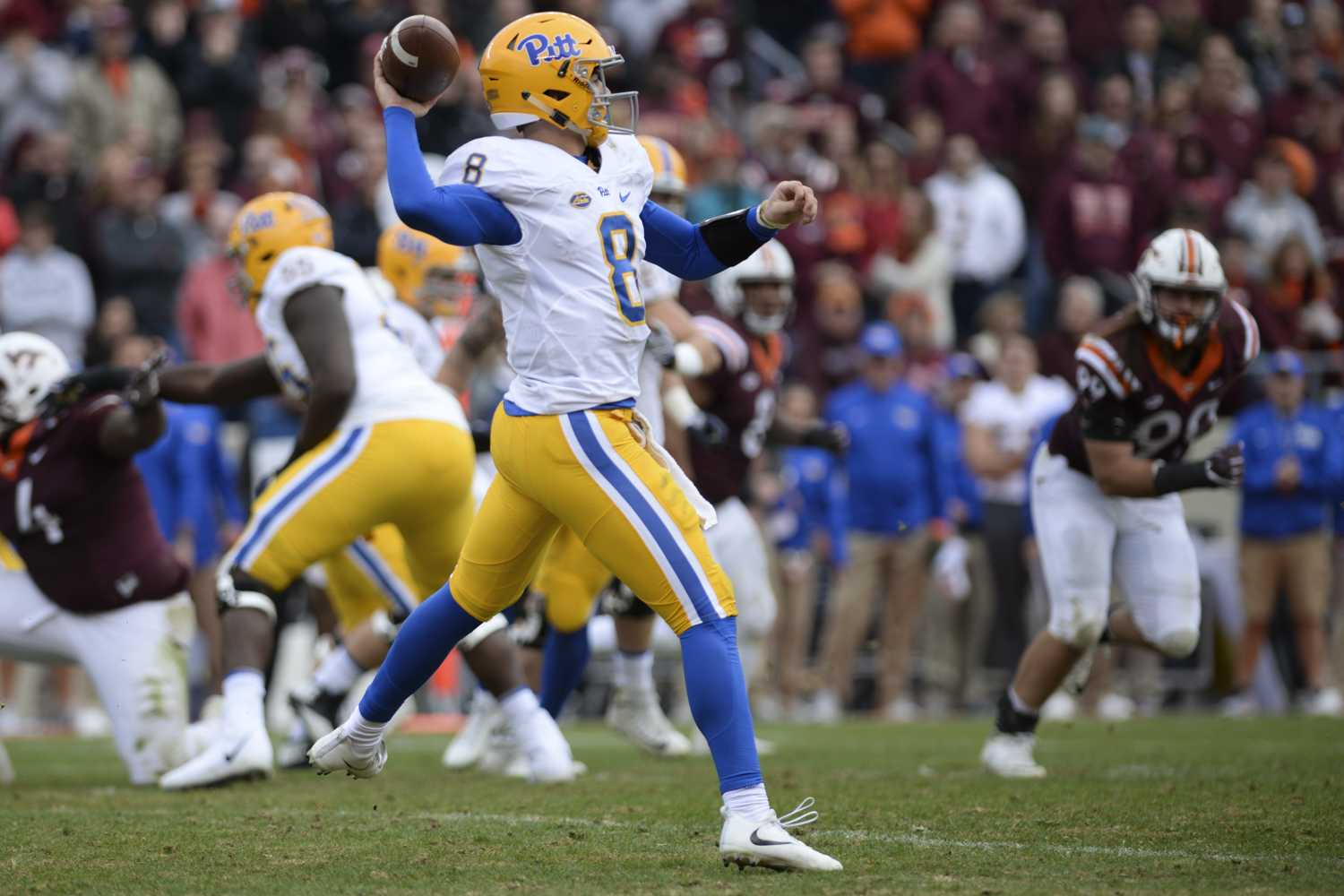 First-year quarterback Kenny Pickett completed 15 of 23 passes after he replaced Ben DiNucci during the second quarter of the Panthers' 20-14 loss to Virginia Tech Saturday. (Photo by John Hamilton | Managing Editor)