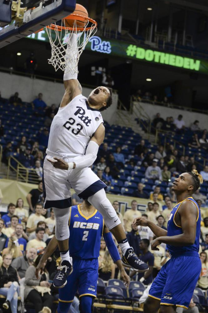 Shamiel Stevenson dunks for Pitt in the last two minutes of the first half against UCSB Wednesday night. (Photo by Anna Bongardino | Assistant Visual Editor)