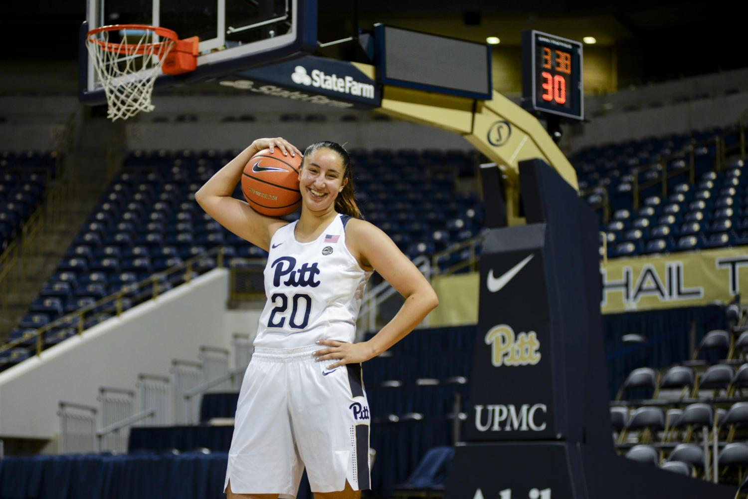 First-year guard Pika Rodriguez has played four games so far during her inaugural season with the Pitt women's basketball team. (Photo by Sarah Cutshall | Staff Photographer)