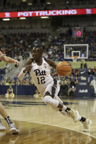 Returning from a season-long injury, redshirt junior forward Yacine Diop came back and dominated Pitt women's basketball team's two holiday break games. (Photo by Thomas Yang | Senior Staff Photographer)