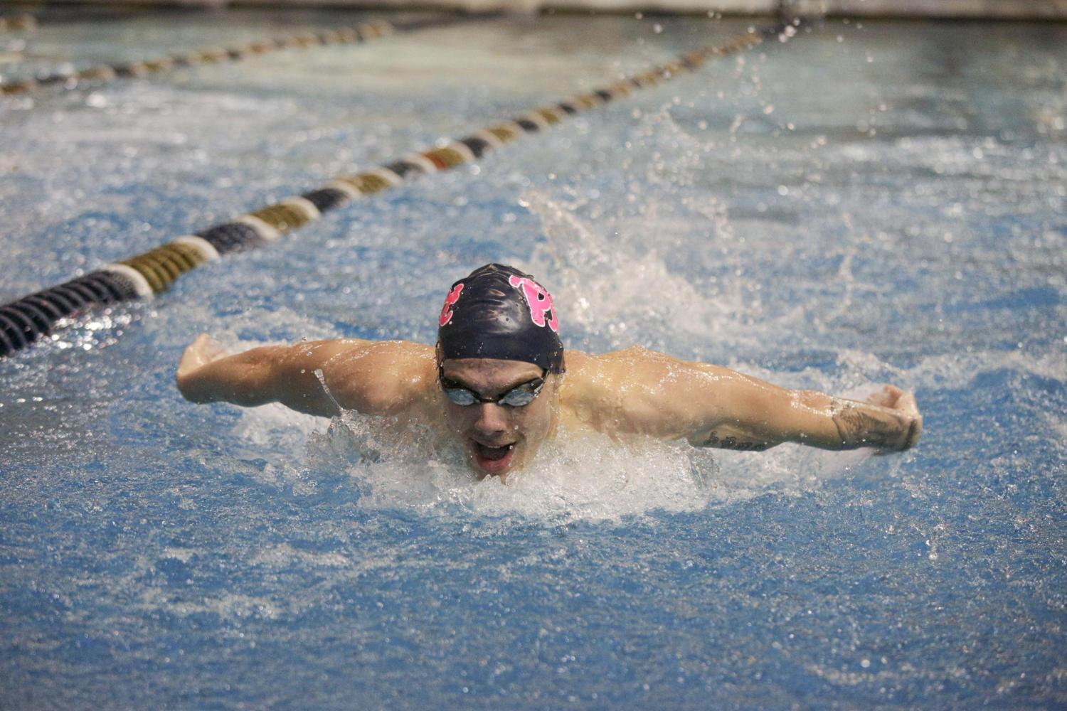 The Panthers swim team recorded a cumulative 621.0 to 288.0 win over their three opponents — Miami, Michigan State and James Madison — at a meet last Friday. (Photo by Thomas Yang | Senior Staff Photographer)
