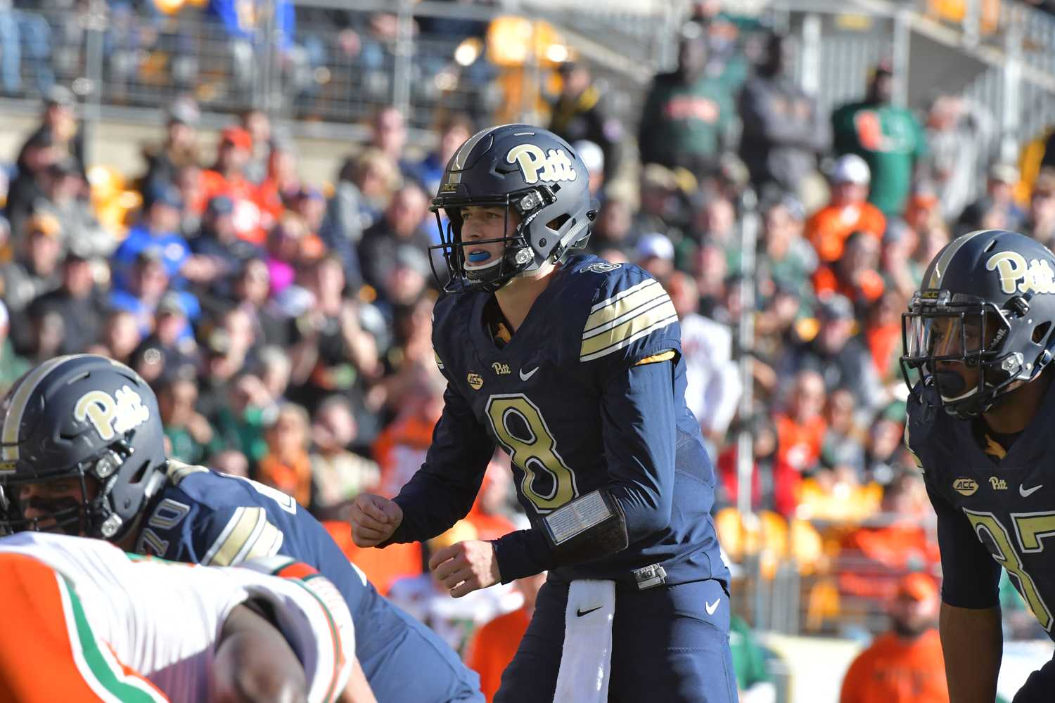 Sophomore quarterback Kenny Pickett ran in two  touchdowns during the Panthers' victory over Miami at Heinz Field last year. This year, Pitt lost in a game of ugly offenses. (Photo via Pete Madia/Pitt Athletics)