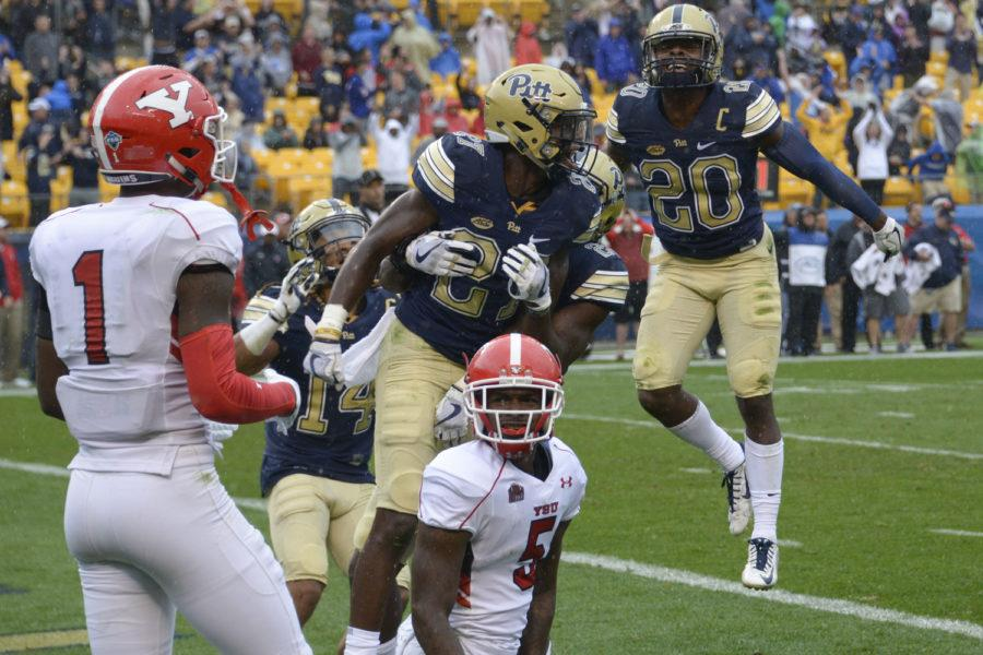 Redshirt first-year defensive back Bricen Garner celebrates after intercepting a pass in overtime to secure Pitt's win in its season-opening game against Youngstown State. (Photo by Wenhao Wu | Assistant Visual Editor)