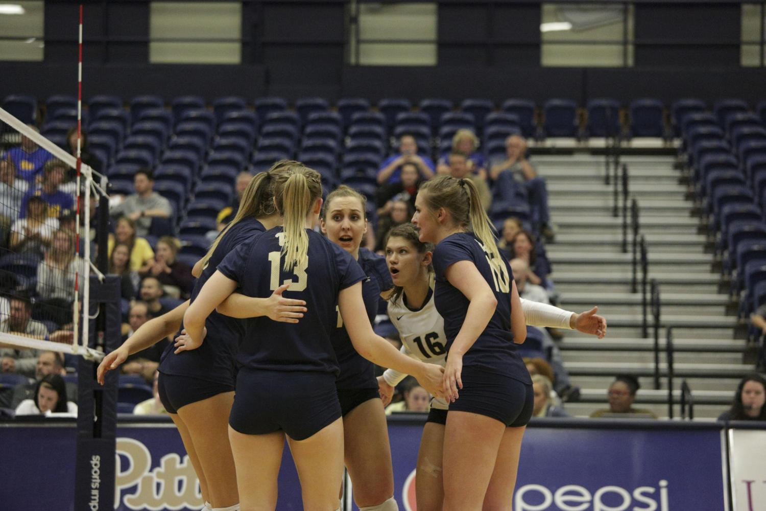 Pitt volleyball secured a slot in the 2017 NCAA tournament after clinching the ACC Championship title this weekend. (Photo by Thomas Yang | Senior Staff Photographer)