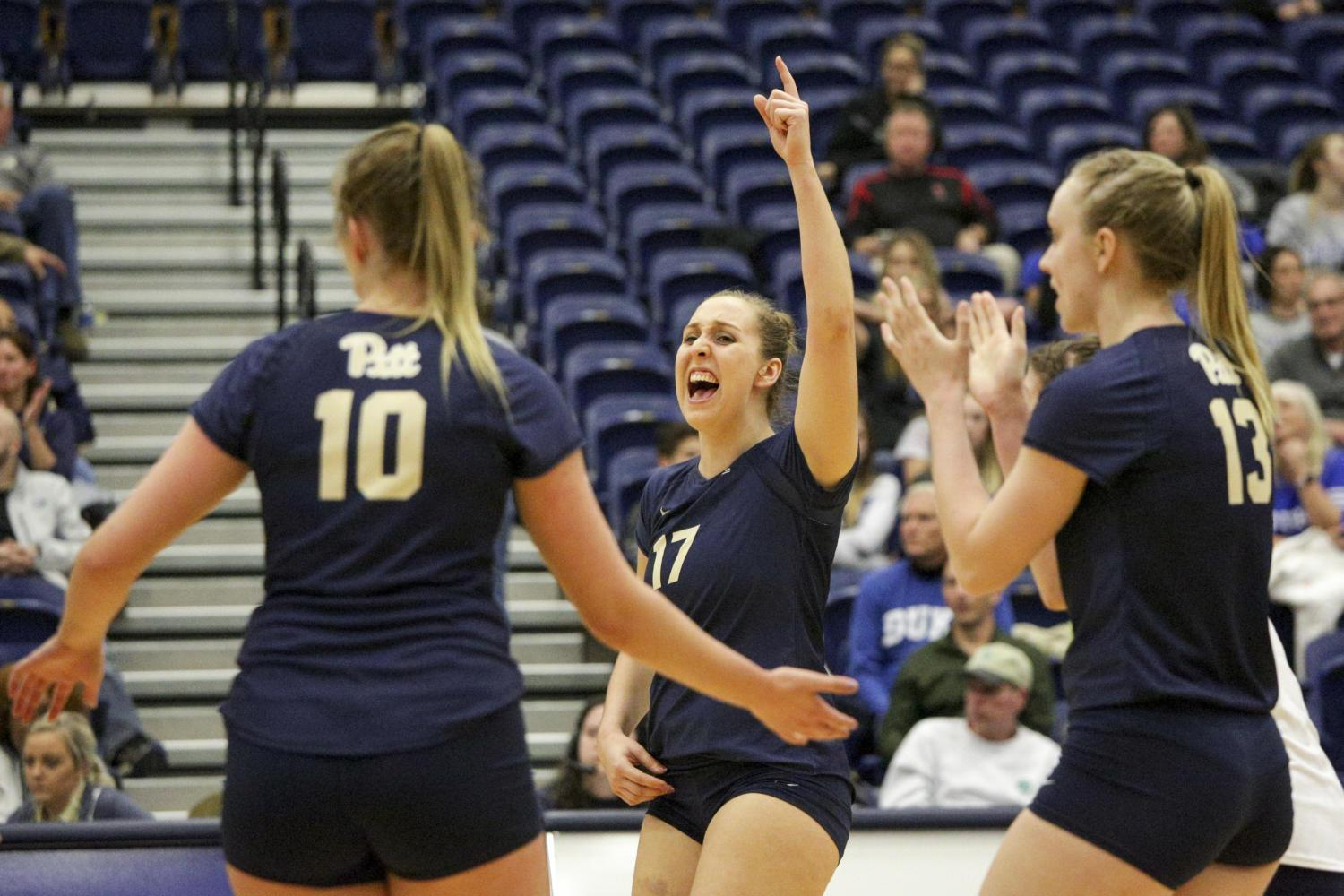 Sophomore Nika Markovic cheers after scoring against Duke in November. The Pitt women's volleyball team finished the regular season tied as ACC champions with Louisville. (Photo by Thomas Yang | Senior Staff Photographer)