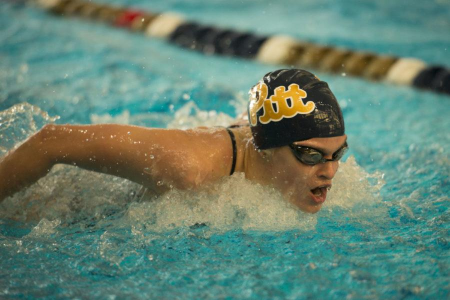 The Panthers' women's swim team won 12 of the 19 events in which they competed Saturday. (Photo by Sarah Cutshall | Staff Photographer)