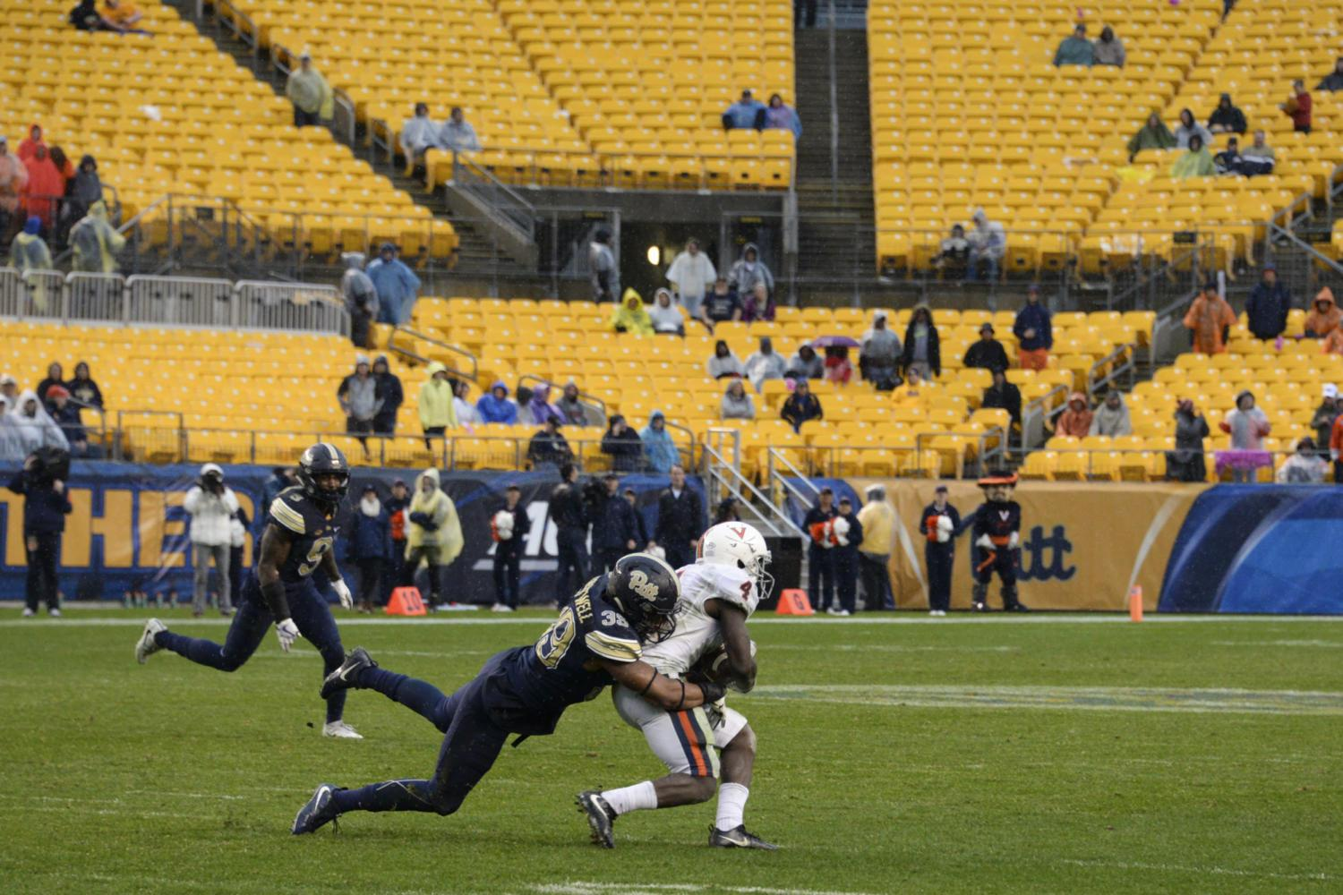 A small crowd watches as Pitt beats Virginia on a cold day last month. (Photo by Wenhao Wu | Assistant Visual Editor)