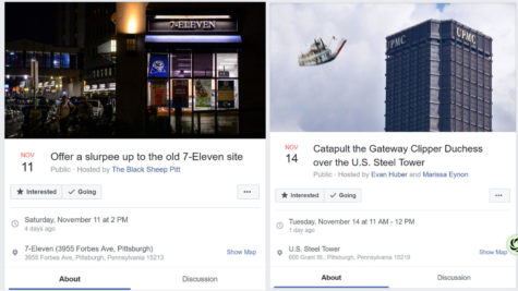 Two fake Facebook events that caught on among Pitt students.