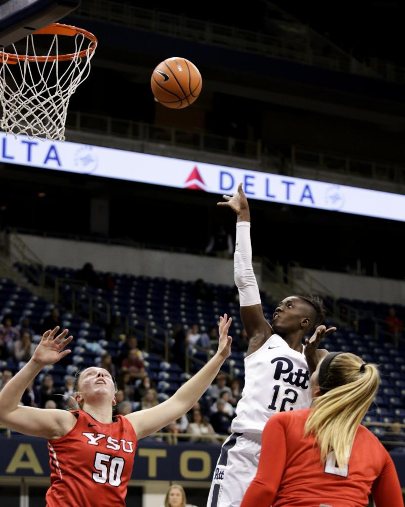 Yacine Diop had 14 points in the Pitt women's basketball team's 66-58 victory over the Youngstown State Penguins Friday night. (Thomas Yang / Senior Staff Photographer)