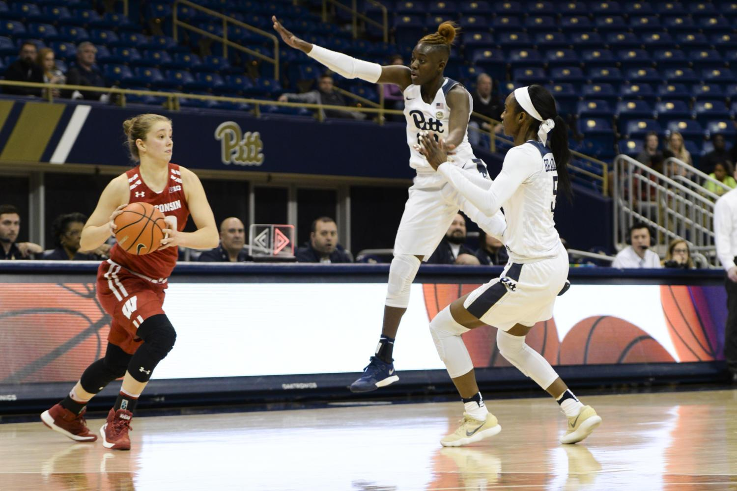 Pitt women's basketball fell to Wisconsin, 58-57, at the Peterson Events Center Wednesday. (Photo by Sarah Cutshall | Staff Photographer)