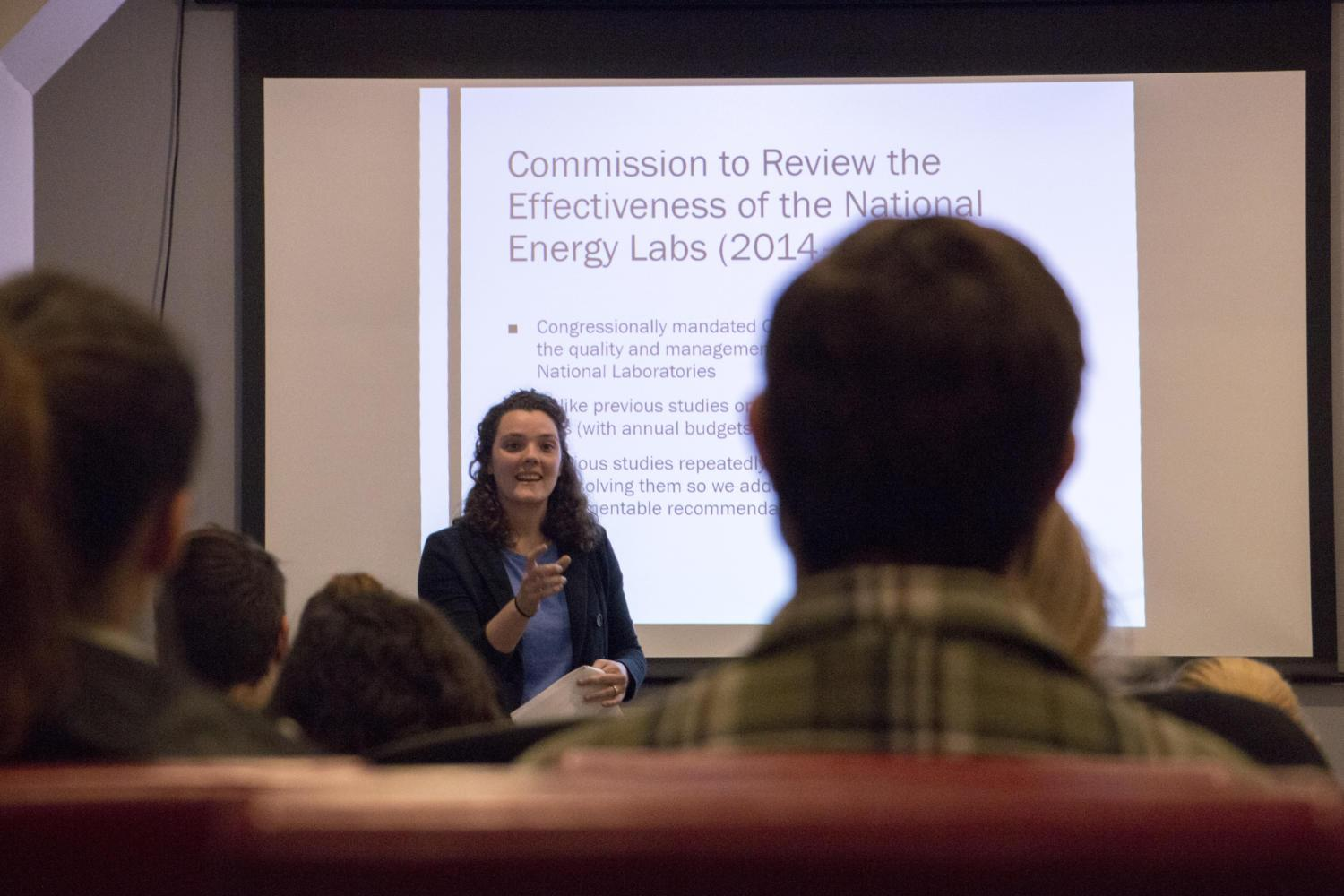 Martha Merrill, a recent graduate working in science policy at the national level, speaks to students and community members Tuesday about projects she has worked on that had serious impacts on U.S. policy. (Photo by Christian Snyder | Contributing Editor)