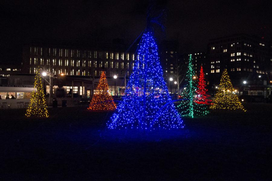 +Christmas+trees+in+Schenley+Plaza+are+lit+up+at+night+during+the+holiday+season.+%28Photo+by+Elise+Lavallee+%7C+Contributing+Editor%29