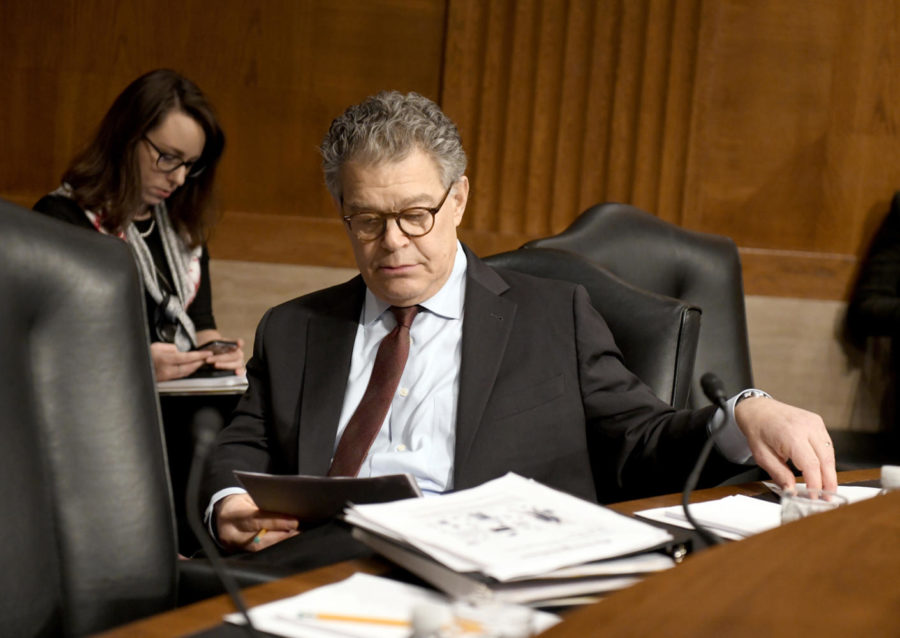 U.S.+Sen.+Al+Franken%2C+D-Minn.%2C+looks+over+his+notes+prior+to+hearing+Alex+M.+Azar+II+testify+before+the+Senate+Committee+on+Health%2C+Education%2C+Labor+and+Pensions+on+his+nomination+to+be+Secretary+of+Health+and+Human+Services+Wednesday%2C+Nov.+29%2C+2017+on+Capitol+Hill+in+Washington%2C+D.C.+A+series+of+Senate+Democratic+women+issued+calls+for+Franken+to+resign+Wednesday+morning.+%28Ron+Sachs%2FCNP%2FZuma+Press%2FTNS%29
