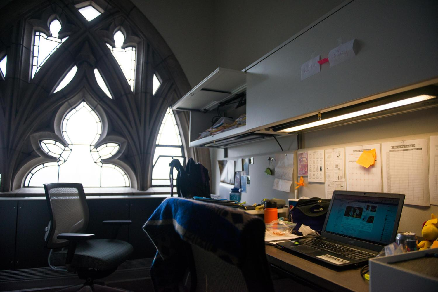An office on the 14th floor of the Cathedral of Learning, where Pitt's Department of Communication is located. (Photo by John Hamilton / Managing Editor)