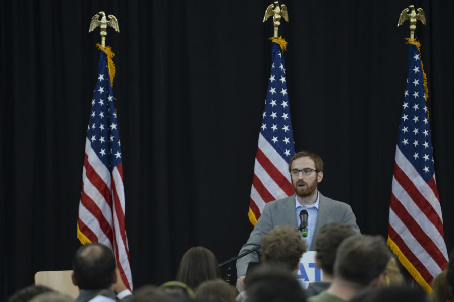 City Councilman Dan Gilman, pictured speaking at a Hillary Clinton rally last year, will be Mayor Bill Peduto's new chief of staff. (Photo by John Hamilton / Managing Editor)