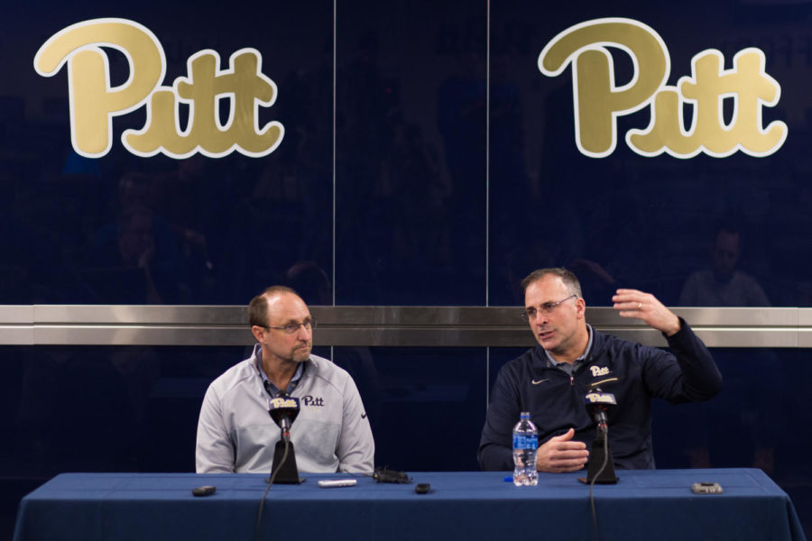 Head+coach+Pat+Narduzzi+answers+a+question+at+a+press+conference+introducing+new+defensive+coordinator+Randy+Bates.+%28Photo+by+John+Hamilton+%7C+Contributing+Editor%29