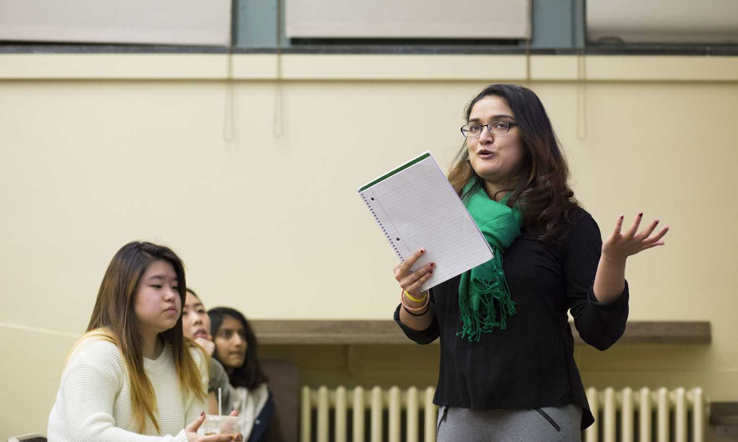 """Rukmini Foundation liaison Bhakti Patel discusses the importance of women's education in Nepal at the Asian Student Association's """"Above and Beyond the Bamboo Ceiling"""" event Wednesday night. (Photo by Thomas Yang 