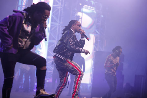 From left, Takeoff, Quavo and Offset, from the group Migos, perform at the Rolling Loud music festival, held Saturday, Dec. 16, 2017 at the National Orange Show Events Center in San Bernardino, California (Jay L. Clendenin/Los Angeles Times/TNS)