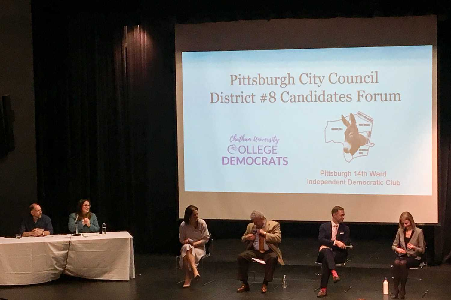 The four candidates for Pittsburgh City Council District 8 spoke at a debate at Chatham University Sunday afternoon. (Photo by Grant Burgman | Contributing Editor)