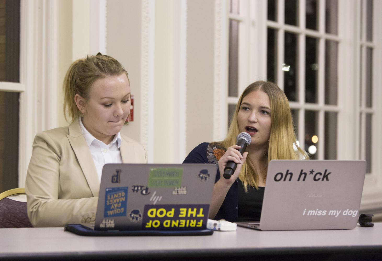 Pitt democrats Grace Dubois (left) and Char Goldbach (right) discuss their vision about healthcare in the U.S. at the Pitt Healthcare Debate on Monday night. (Photo by Thomas Yang | Visual Editor)