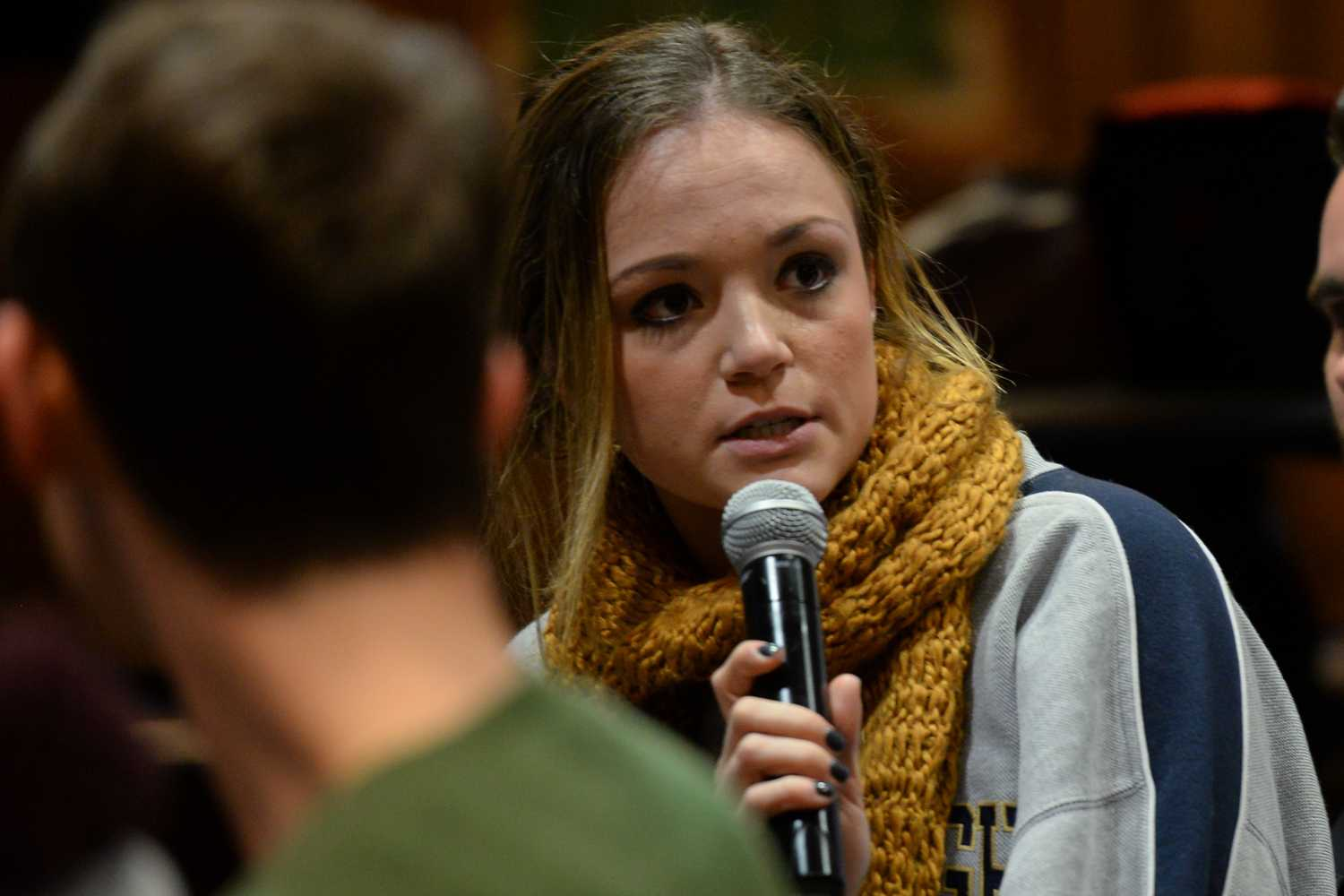 SGB board member Ciara Barry partakes in the Campus Master Plan discussion at Tuesday night's meeting. (Photo by Sarah Cutshall | Staff Photographer)