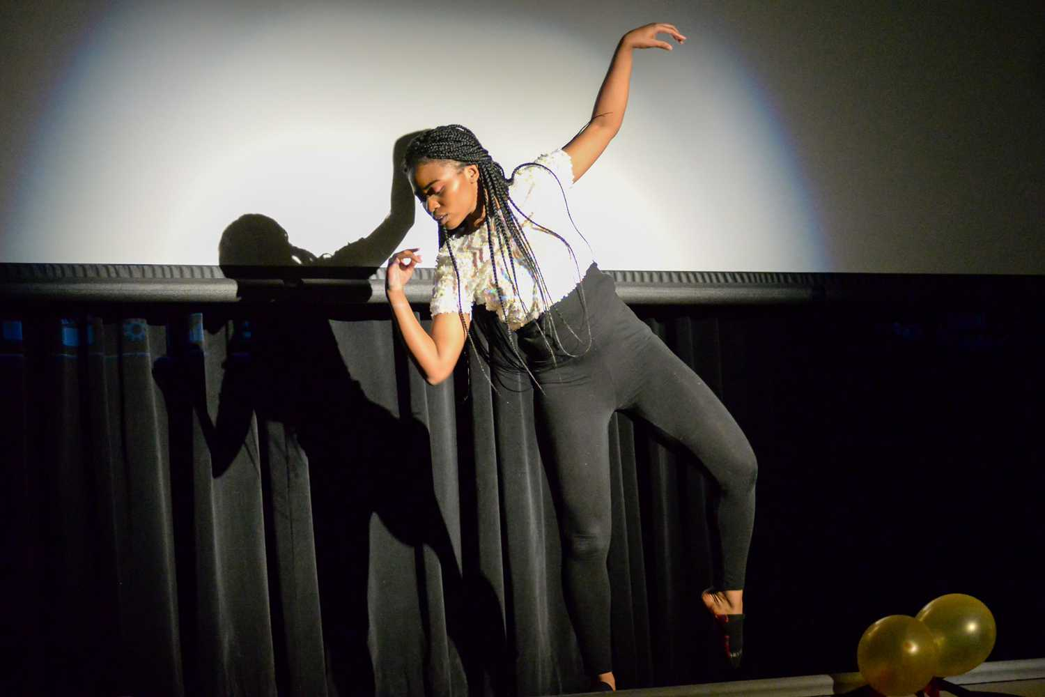 Uyai Akpakpan, representing the country of Somalia, danced to original choreography as her talent portion at the sixth annual African Pageant hosted by the African Students Organization Friday night. (Photo by Issi Glatts | Assistant Visual Editor)
