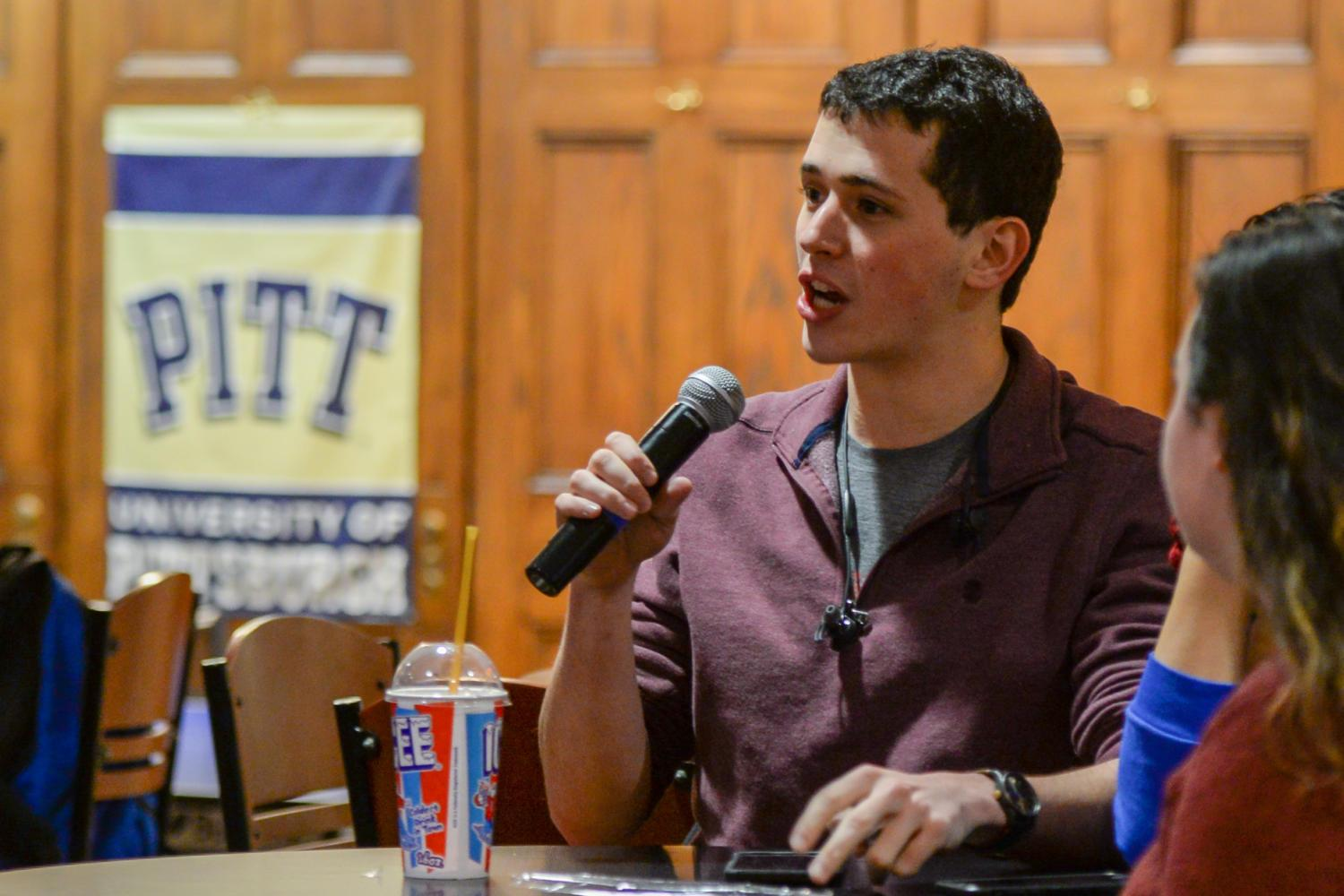 Pitt Program Council Special Events Director Zach Linn discusses upcoming events during SGB's first meeting of the year. (Photo by Sarah Cutshall | Staff Photographer)