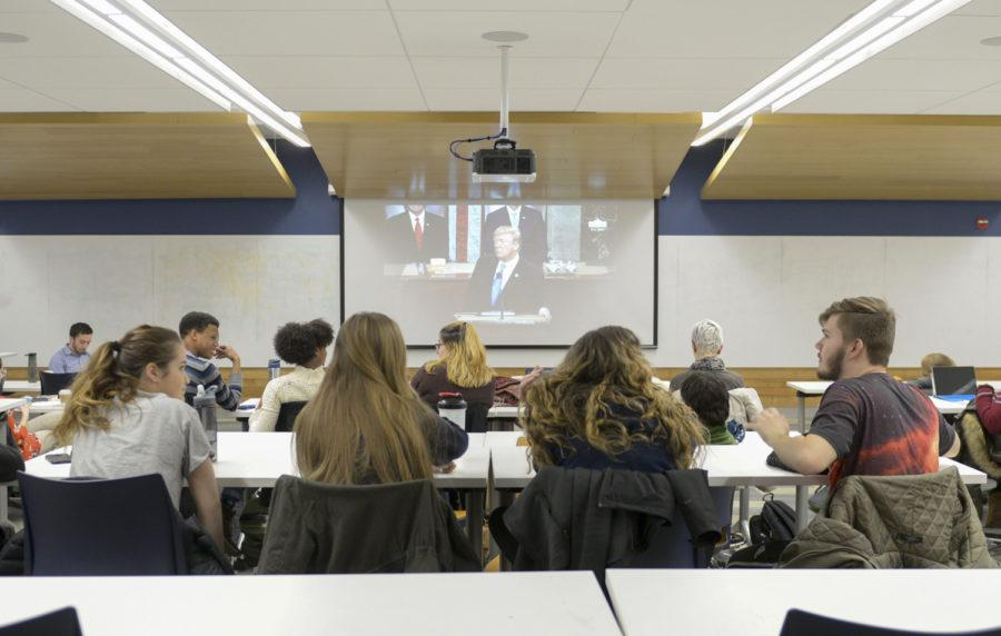 Members of the Pitt Political Science Association invited students and faculty to watch President Trump's state of the Union address at a viewing party in Posvar. (Photos by Issi Glatts | Assistant Visual Editor)