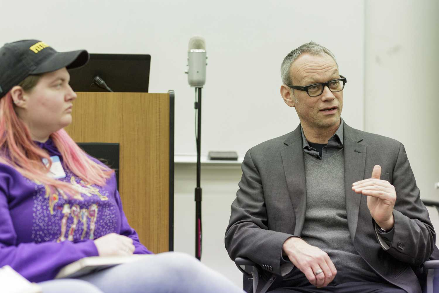 """Randall Halle, a professor of German film and cultural studies, discusses his former financial struggles as a student during Wednesday's """"Strengthening Our Safety Net for Students"""" event. (Photo by Thomas Yang 