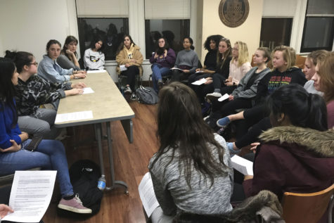 The American Association of University Women club invited Pitt students to a discussion about the recent events regarding Aziz Ansari and the sexual assault claim made against him Monday night in the William Pitt Union. (Photo by Annemarie Yurik | Contributing Staff)