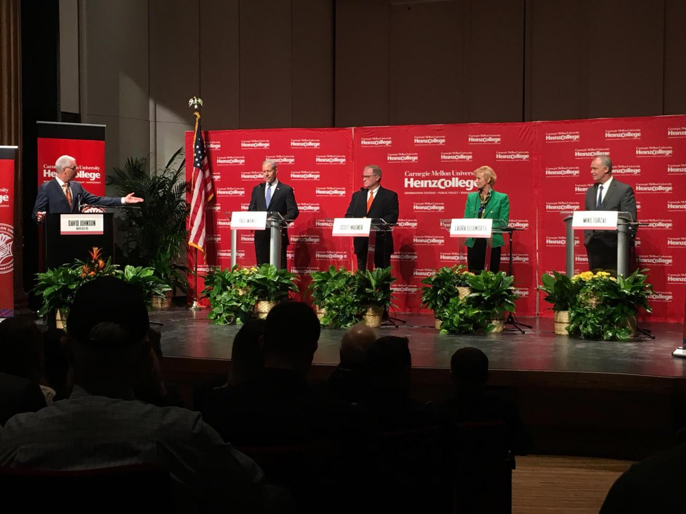 Republican candidates for Pennsylvania governor debate at Carnegie Mellon University Saturday. (Photo by Madeline Gavatorta | Staff Writer)