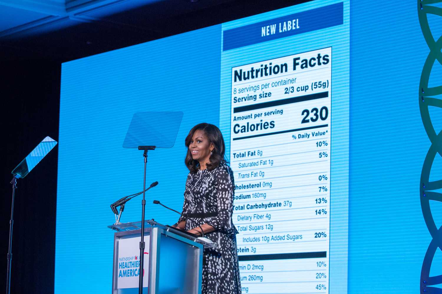 First Lady Michelle Obama unveils the new, modernized Nutrition Facts Label on May 20, 2016, at the Building a Healthier Future Summit in Washington, D.C. (Cheriss May/NurPhoto/ZUma Press/TNS)