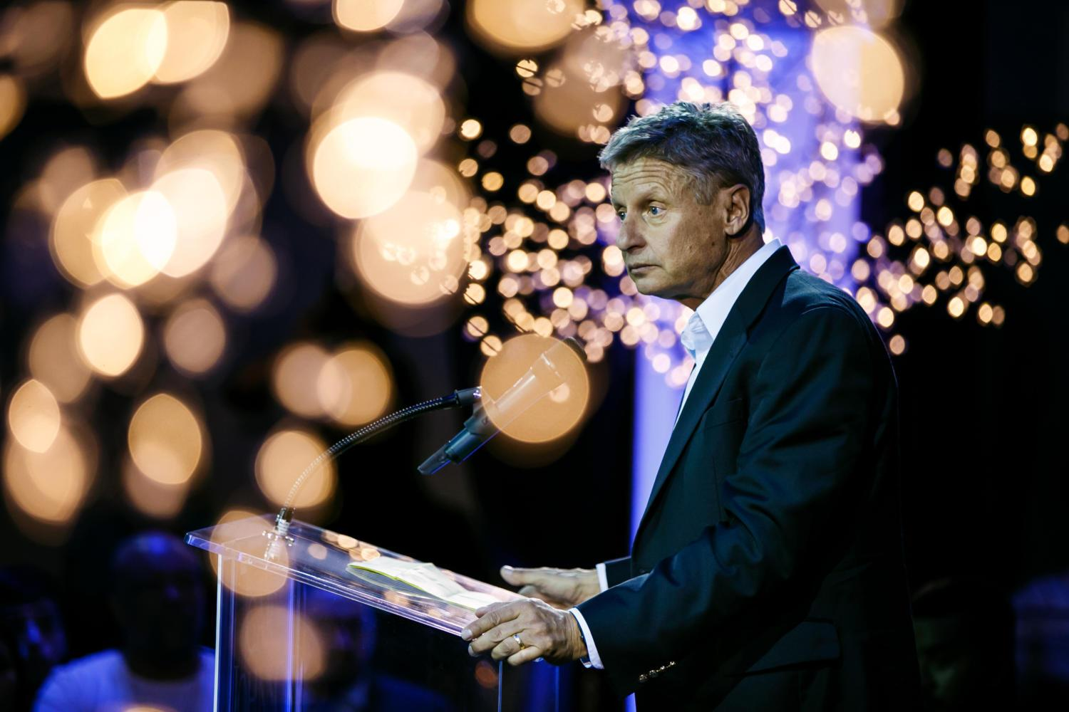 Gary Johnson, the former Libertarian candidate for president, speaks at a campaign event in Los Angeles Oct. 19, 2016. (Marcus Yam/Los Angeles Times/TNS)