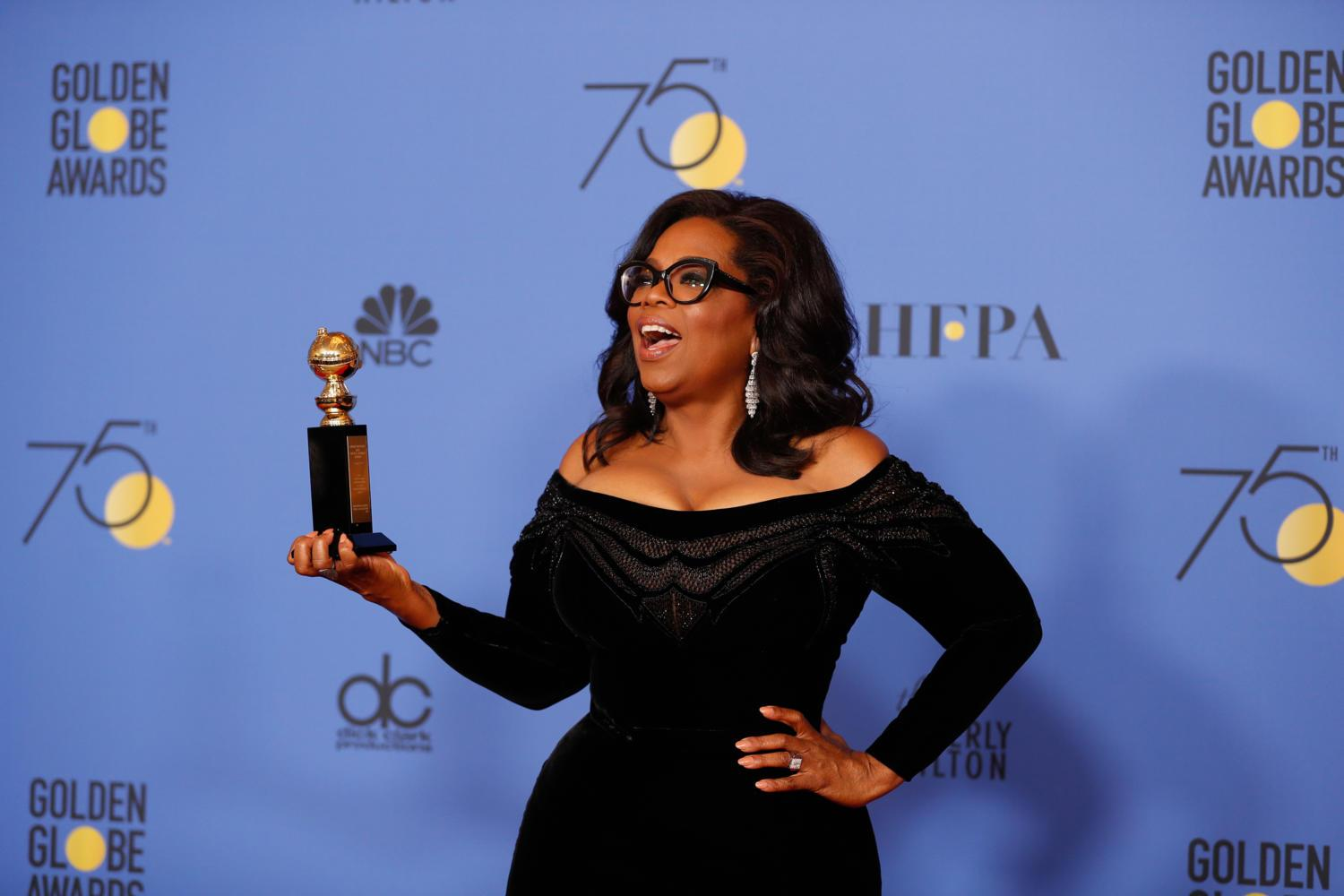 Oprah Winfrey stands backstage at the 75th Annual Golden Globes on Sunday. (Allen J. Schaben/Los Angeles Times/TNS)