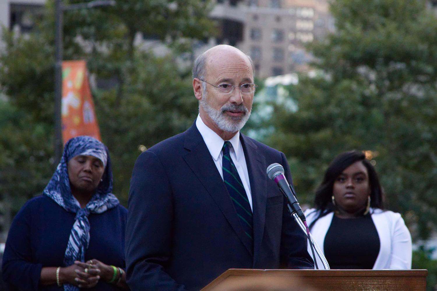 Pennsylvania Gov. Tom Wolf speaks at a vigil for the victims of the mass shooting in Las Vegas outside City Hall in Philadelphia in October. (Bastiaan Slabbers/NurPhoto/Sipa USA/TNS)